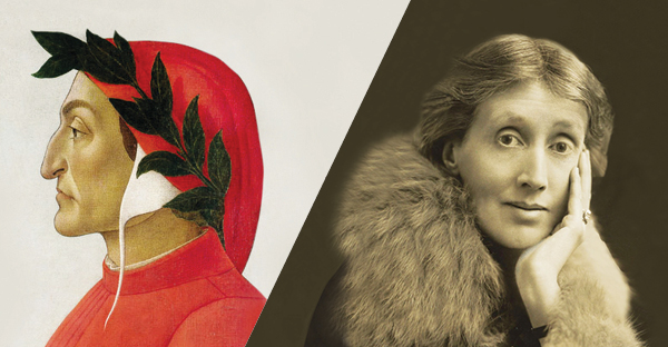 Side-by-side portraits of Dante and Virginia Woolf